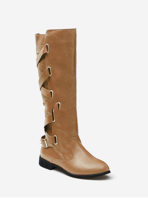 women Back Criss-cross Knight Fleece Knee High Boots - APRICOT EU 38 Mobile