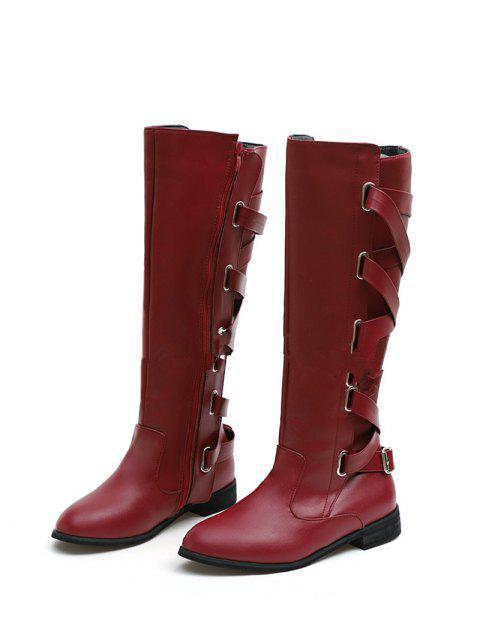 women's Back Criss-cross Knight Fleece Knee High Boots - RED WINE EU 37 Mobile