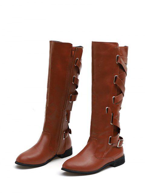 ladies Back Criss-cross Knight Fleece Knee High Boots - COFFEE EU 38 Mobile