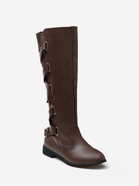 shop Back Criss-cross Knight Fleece Knee High Boots - DEEP BROWN EU 40 Mobile