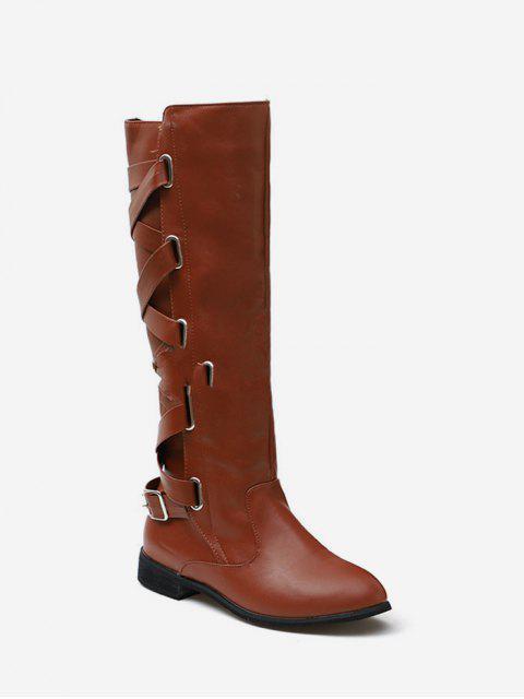latest Back Criss-cross Knight Fleece Knee High Boots - COFFEE EU 39 Mobile