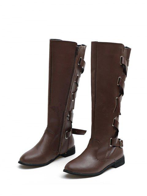 sale Back Criss-cross Knight Fleece Knee High Boots - DEEP BROWN EU 35 Mobile