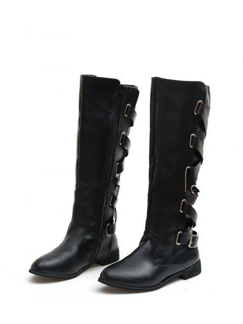 lady Back Criss-cross Knight Fleece Knee High Boots - BLACK EU 37 Mobile