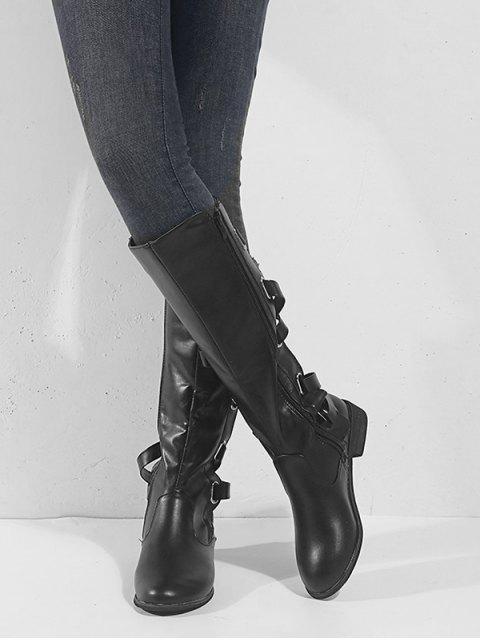 fashion Back Criss-cross Knight Fleece Knee High Boots - BLACK EU 41 Mobile