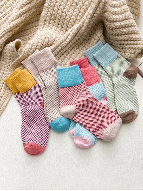 outfit 5 Pairs Crochet Pattern Crew Length Socks Set - MULTI-A  Mobile