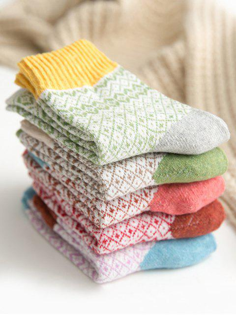 outfits 5 Pairs Geometric Pattern Crew Length Socks Set - MULTI-A  Mobile