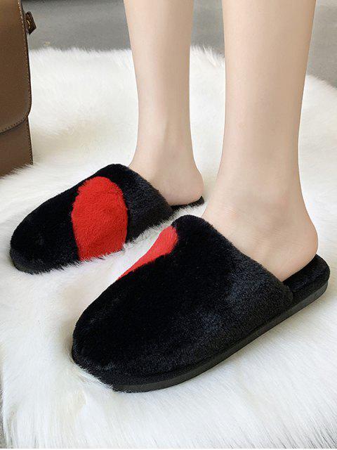 outfit Half Heart Fuzzy Flat Shoes - BLACK EU 44 Mobile