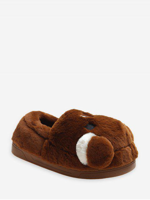 ladies Cute Bear Design Slip On Plush Shoes - DARK KHAKI EU 36 Mobile