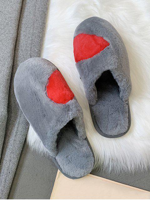fancy Half Heart Fuzzy Flat Shoes - GRAY EU 41 Mobile