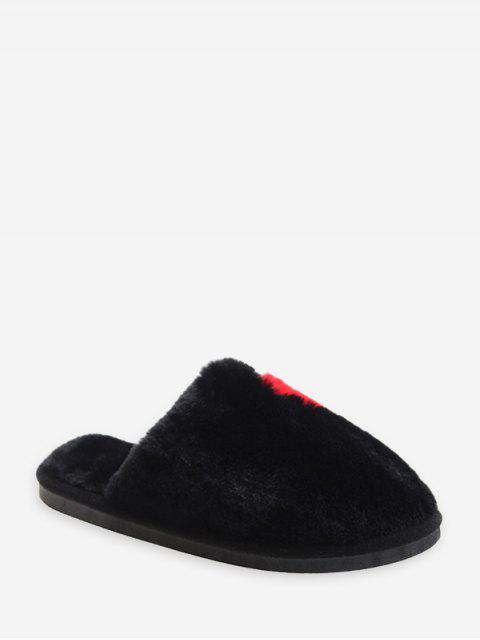 shop Half Heart Fuzzy Flat Shoes - BLACK EU 36 Mobile
