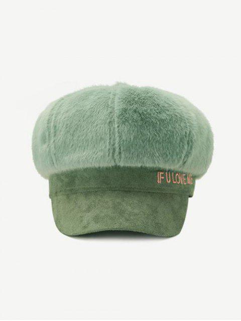 hot Winter Faux Fur Letter Cap - GREEN  Mobile