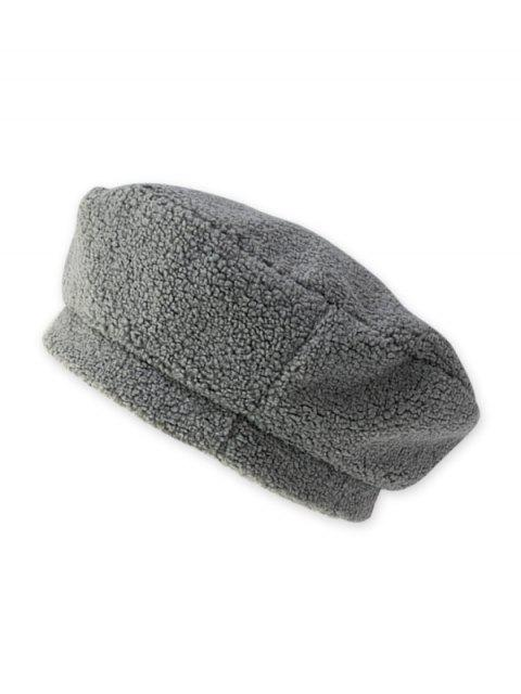 lady Solid Lamb Wool Beret Hat - GRAY  Mobile