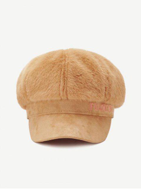 outfit Winter Faux Fur Letter Cap - KHAKI  Mobile