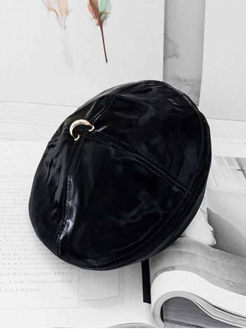 outfits Solid Ring Decorate Beret Hat - BLACK  Mobile
