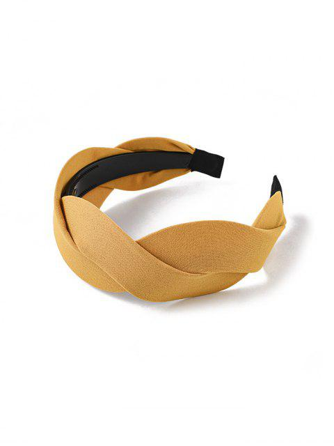 new Twist Solid Fabric Wide Hairband - YELLOW  Mobile