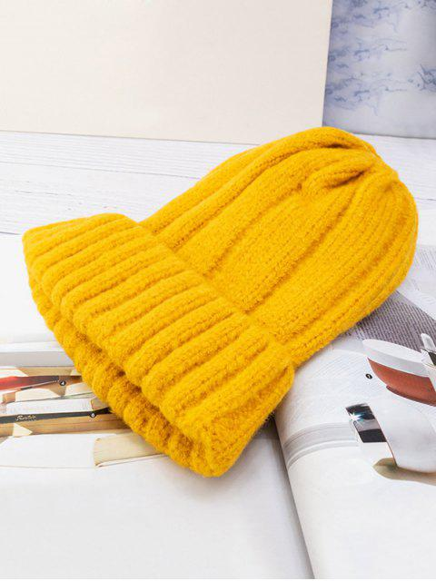 shop Solid Winter Knitted Hat - YELLOW  Mobile