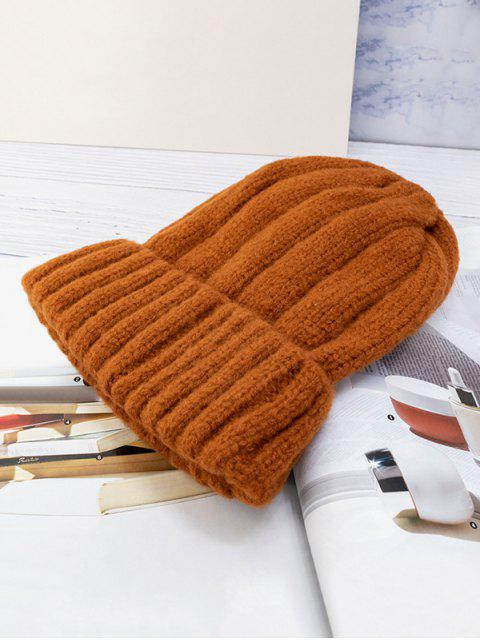 latest Solid Winter Knitted Hat - CARAMEL  Mobile