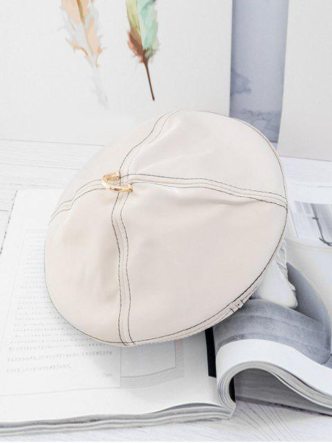 best Solid Ring Decorate Beret Hat - WHITE  Mobile