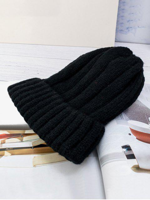 outfit Solid Winter Knitted Hat - BLACK  Mobile
