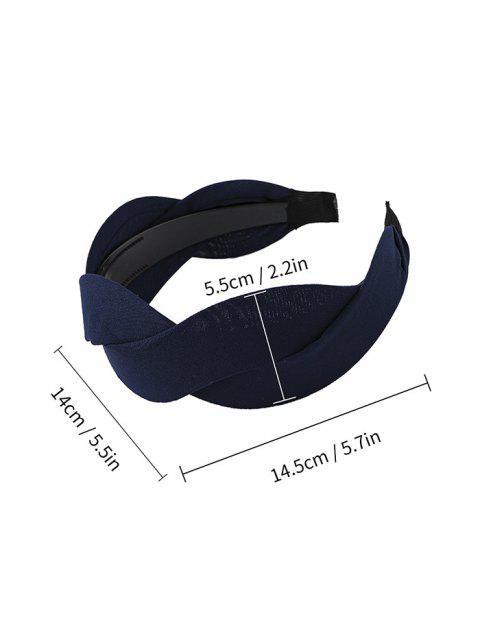 Bandeau Large Tordu en Couleur Unie en Tissu - Cadetblue  Mobile