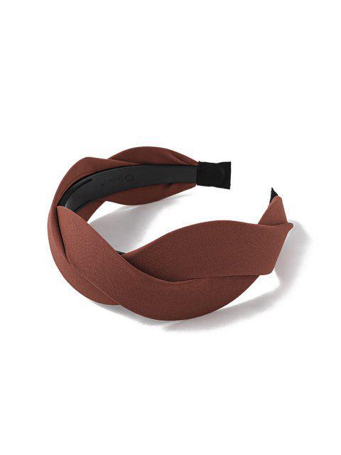 Bandeau Large Tordu en Couleur Unie en Tissu - Caramel  Mobile