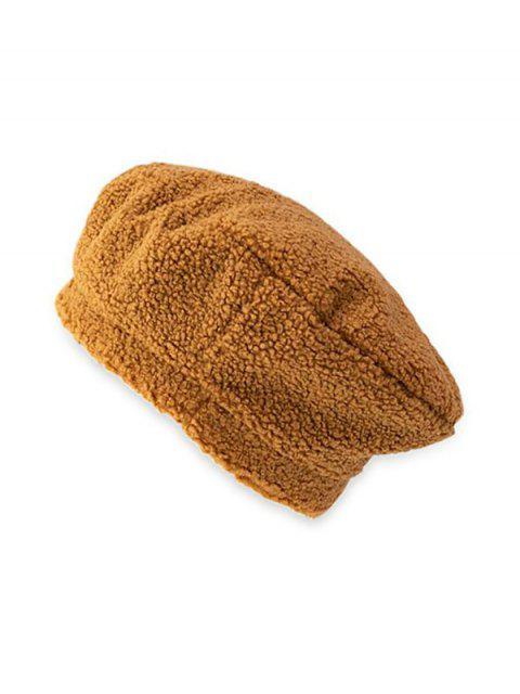 Cordero sólido de lana sombrero de la boina - Caqui  Mobile