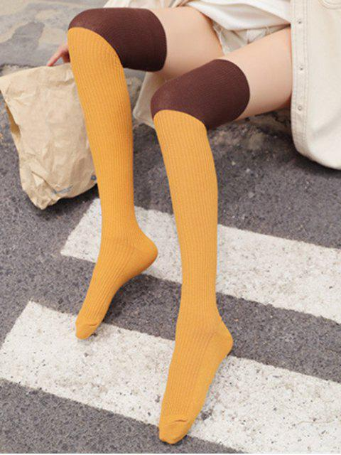 fashion Colorblock Thigh High Socks - YELLOW  Mobile