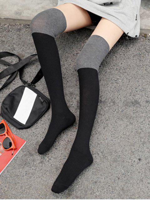 unique Colorblock Thigh High Socks - BLACK  Mobile