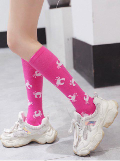 womens Crab Print Calf Length Socks - PINK  Mobile