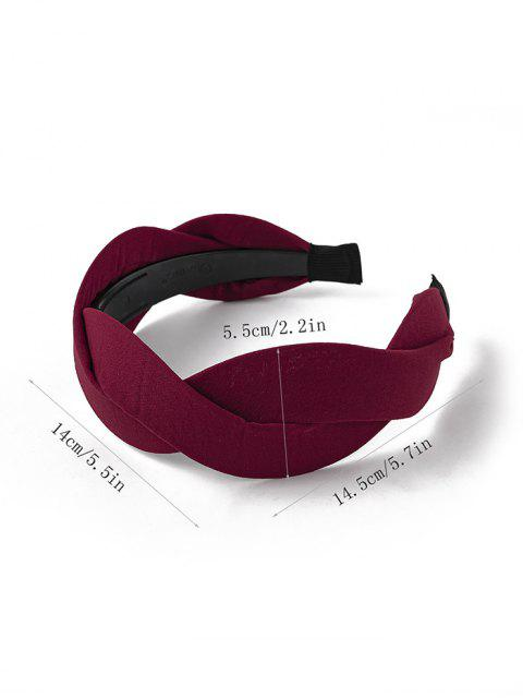 women's Twist Solid Fabric Wide Hairband - RED WINE  Mobile