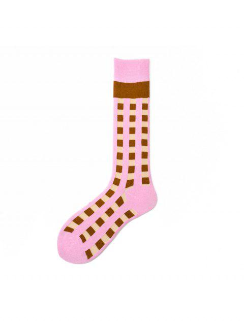 ladies Plaid Sports Calf Length Socks - PINK  Mobile
