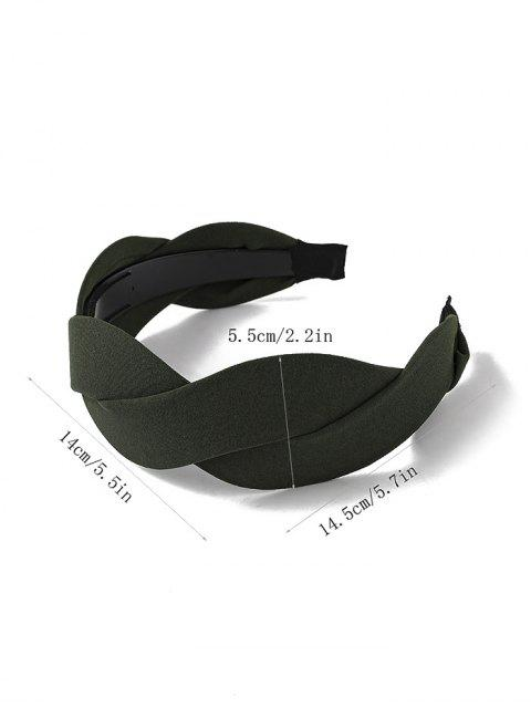 outfits Twist Solid Fabric Wide Hairband - ARMY GREEN  Mobile