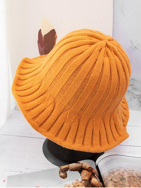 women's Retro Knitted Bucket Hat - TANGERINE  Mobile