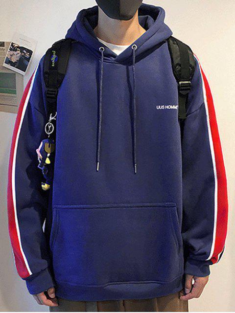 Rayas recorte bolsillo canguro Fleece con capucha - Azul M Mobile