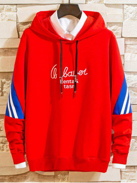 Carta de bordado a rayas con capucha con cordón de Colorblock - Rojo S Mobile