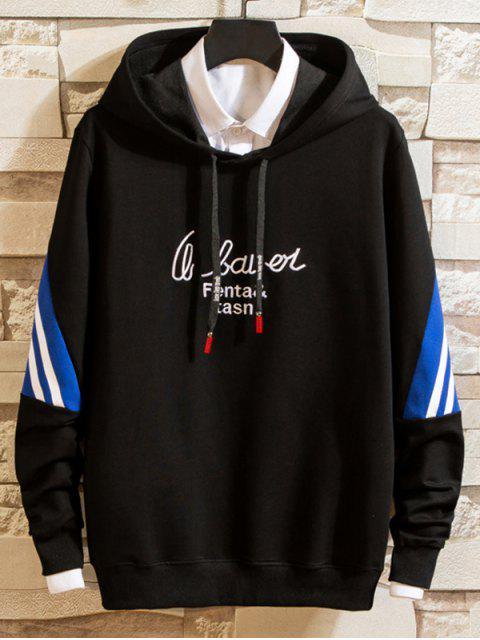 Carta de bordado a rayas con capucha con cordón de Colorblock - Negro S Mobile