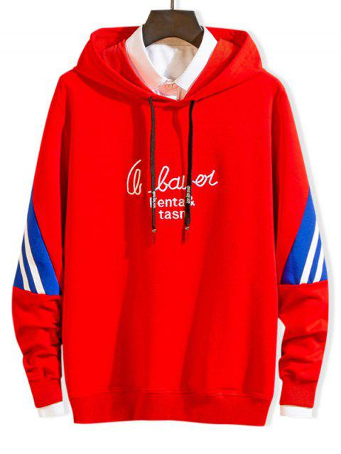 Carta de bordado a rayas con capucha con cordón de Colorblock - Rojo XS Mobile