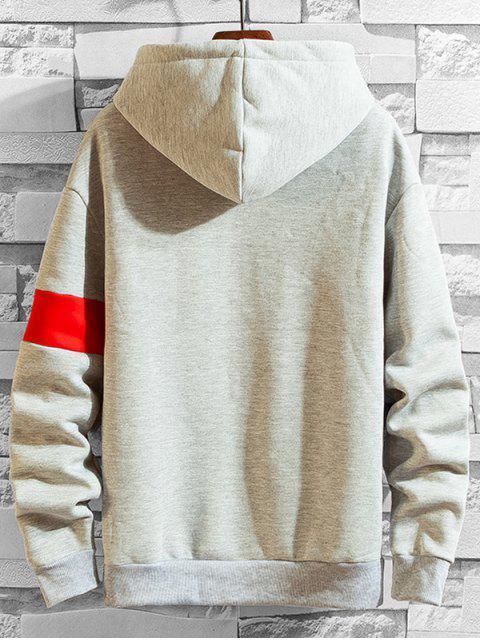 Impresión de la letra de lazo casual con capucha - Gris M Mobile