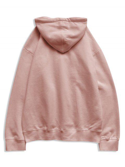 El tiempo creativo bordado bolsillo canguro Fleece con capucha - Rosado 4XL Mobile