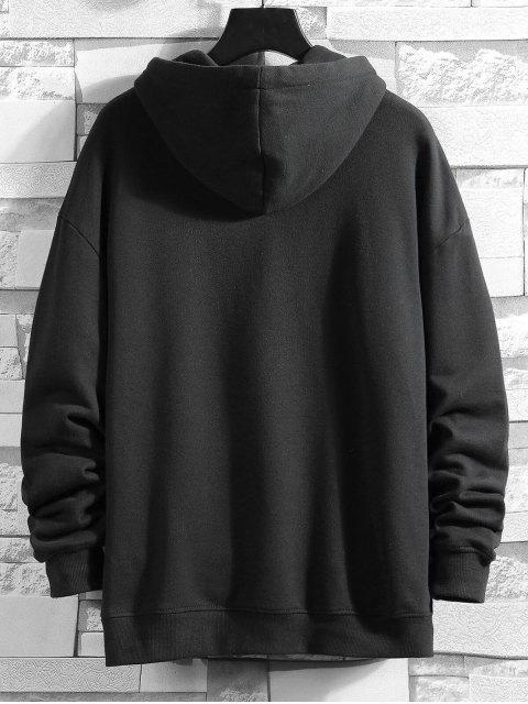 El tiempo creativo bordado bolsillo canguro Fleece con capucha - Negro 3XL Mobile