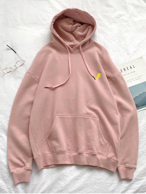 trendy Creative Weather Embroidery Kangaroo Pocket Fleece Hoodie - PINK XL Mobile