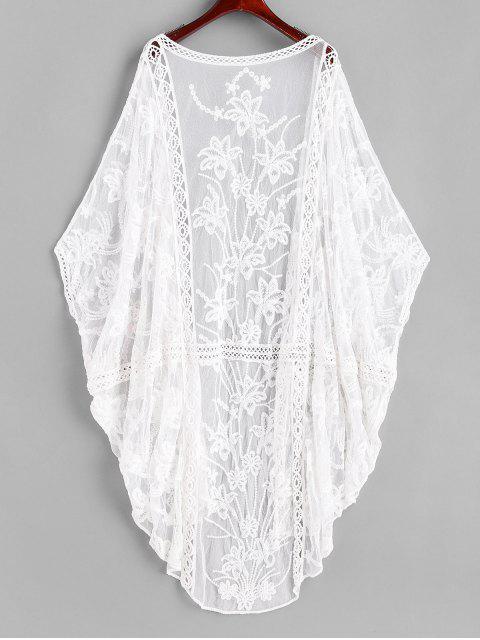 Couverture de Plage Chauve-souris Brodée en Maille Transparente - Blanc Taille Unique Mobile