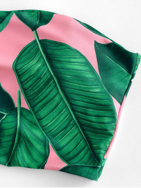 ZAFUL Maillot de Bain Tankini Bandeau Zippé Feuille de Palmier - Rose  L Mobile