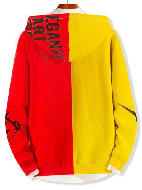 Dos tonos empalmado Carta gráfica con capucha bolsillo de la bolsa - Amarillo S Mobile