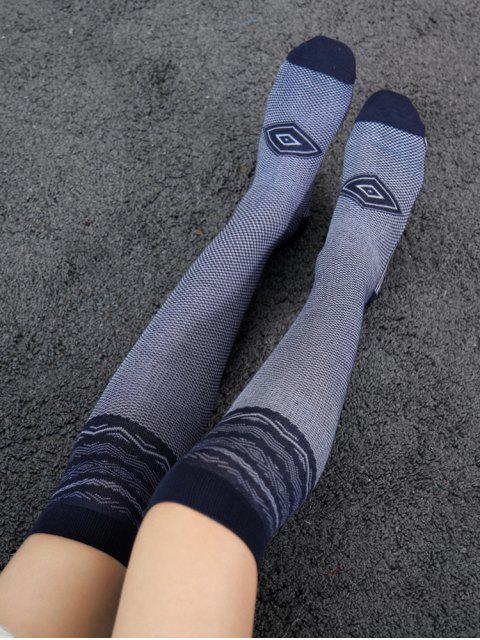 Chaussettes Longueur à Genou Géométriques Rayées - Bleu  Mobile