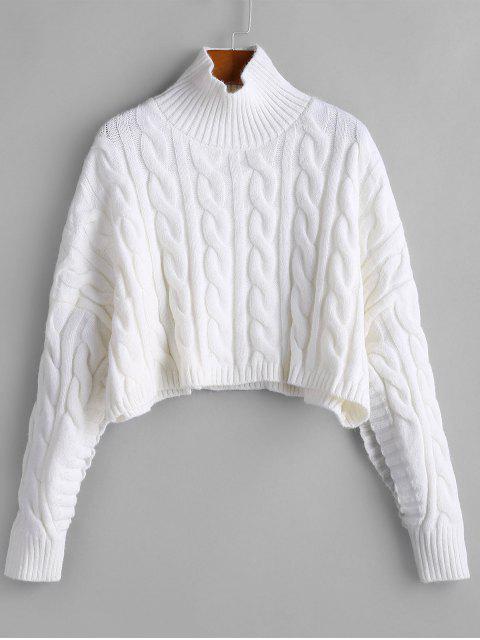 Übergroße Stehkragen Zopfmuster Pullover - Weiß Eine Größe Mobile