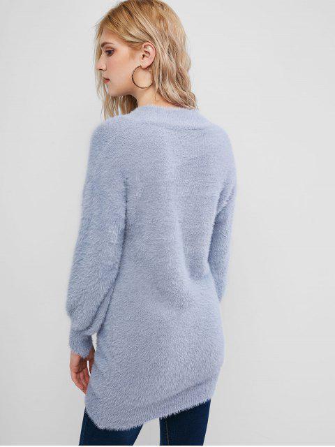 Hängender Schulter-Flaumiger Tunika Strickpullover - Blaugrau Eine Größe Mobile