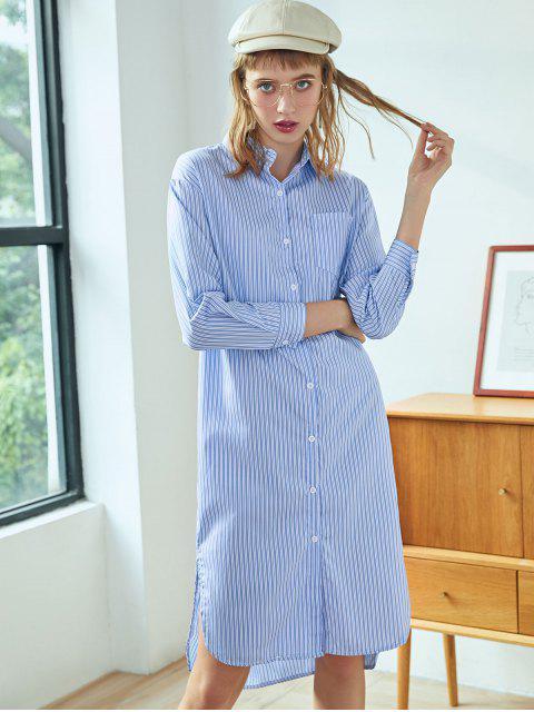 Robe Chemise Fendue Boutonnée Rayée avec Poche Poitrine - Bleu de Ciel  XL Mobile
