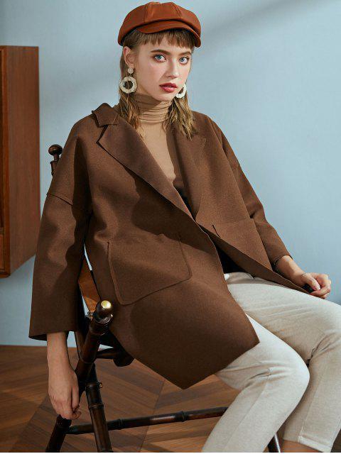 Vordertasche Wollmischung Mantel - Braun Eine Größe Mobile