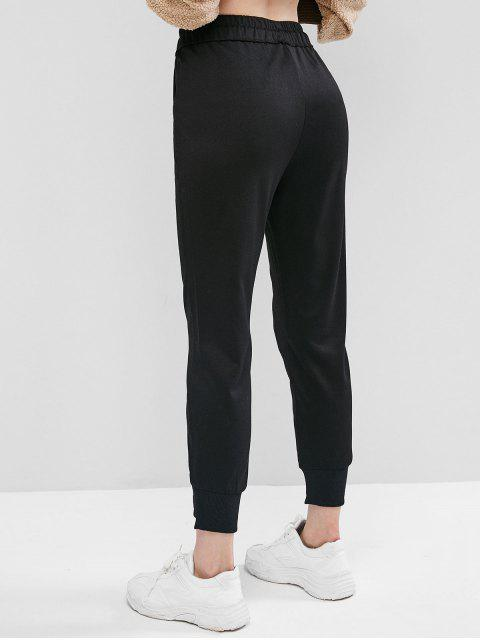 補丁抽繩短褲慢跑者 - 黑色 M Mobile
